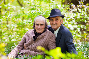 Senior couple relaxing outdoor