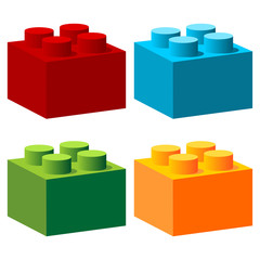 Bricks with different colors isolated over white
