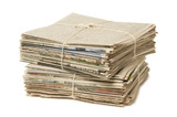 Stack of two newspaper bundles for recycling