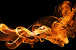 Leinwanddruck Bild - fire and smoke on a black background