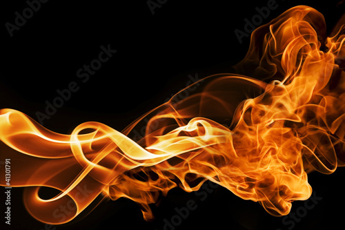 fire and smoke on a black background - 41301791
