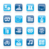entertainment objects icons - vector icon set poster