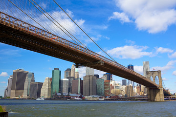 Brooklyn Bridge with Lower Manhattan skyline in New York City