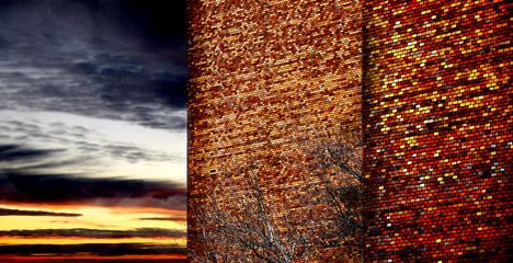Abstract city sunset with brick wall