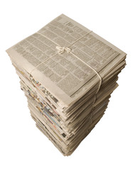 Overhead view of a stack of newspapers for recycling