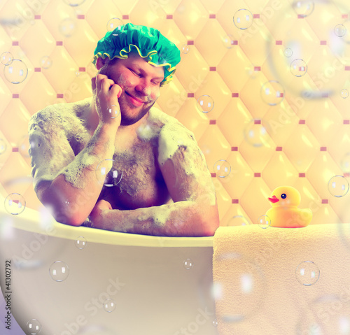 Romantic dreamer taking bath