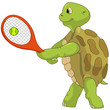 Funny Turtle. Tennis Player.