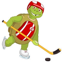 Funny Turtle. Hockey Player.