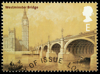 Postage Stamp showing Westminter Bridge and Big Ben