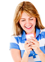 Happy woman texting