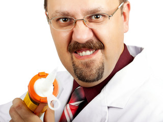 Crazy bald-headed Doctor with silicone gun