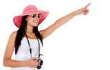 Female tourist pointing