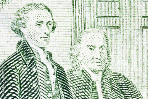 Thomas Jefferson and Benjamin Franklin Macro Close Up US Two Dol