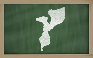 outline map of mozambique on blackboard