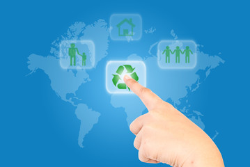 Hand pushing Recycle icon.