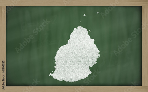 outline map of mauritius on blackboard