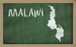 outline map of malawi on blackboard
