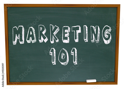 Marketing 101 Words on Chalkboard Basics