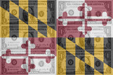 US state of maryland flag with transparent dollar banknotes in b
