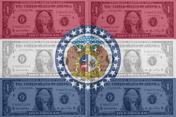 US state of missouri flag with transparent dollar banknotes in b