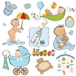 new baby boy elements set isolated on white background
