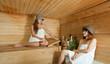 Happy girls   in sauna
