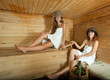 Happy girls  in sauna