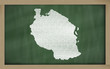 outline map of tanzania on blackboard