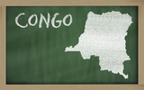 outline map of congo on blackboard
