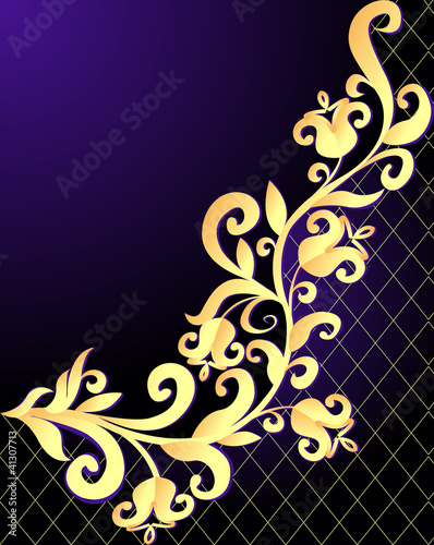 violet background frame with vegetable gold(en) pattern and net