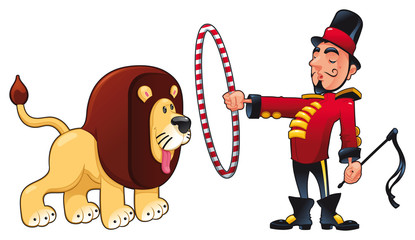 Lion Tamer with lion. Vector circus illustration.