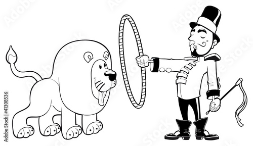 Lion Tamer with lion. Vector black and white illustration.