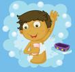 Boy showering