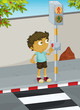 Boy crossing road