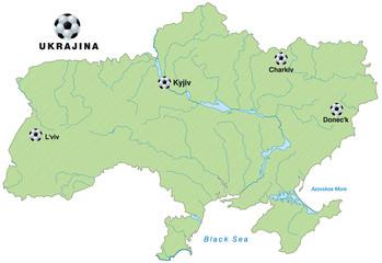 Infografik der Ukraine mit Austragungsorten