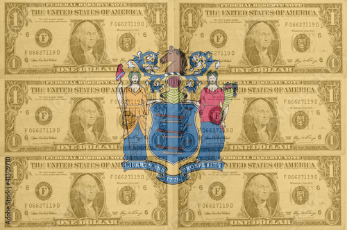 US state of new jersey flag with transparent dollar banknotes in