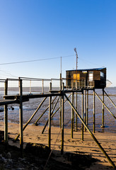pier with a fishing house, Gironde Department, Aquitaine, France