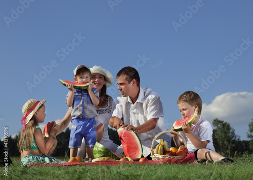 canvas print picture families picnic outdoors with food