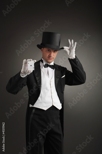 magician in hat show card
