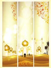 Website headers or banners with golden Mosque or Masjid with flo
