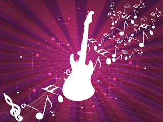 Retro musical background with guitar and musical notes on abstra