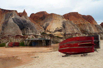 Rafts on the beach of Morro Branco