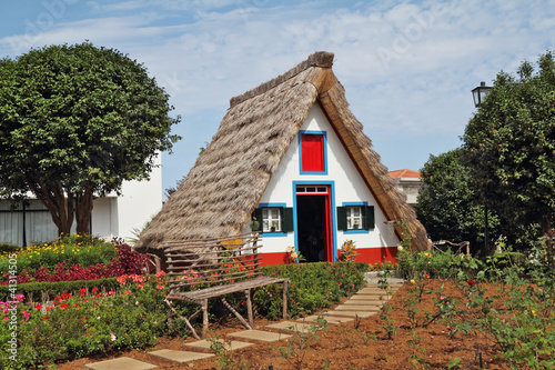 Classical triangular small house on island Madiera