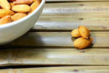 almonds on the Bamboo background