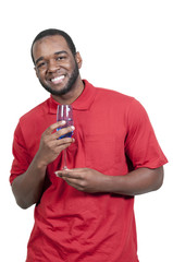 African American Man with Wine