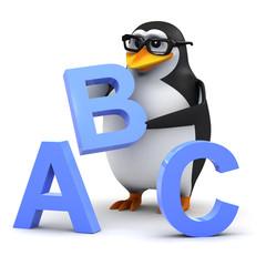 3d Penguin in glasses teaches the alphabet