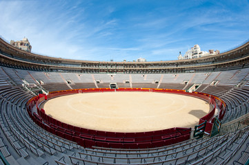 Interior view of Plaza de toros (bullring) in Valencia, Spain.