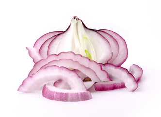 Сhopped onions on a white background