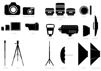 Abstract vector silhouettes of photographic accessories
