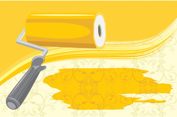 Roller brush on the decorative background